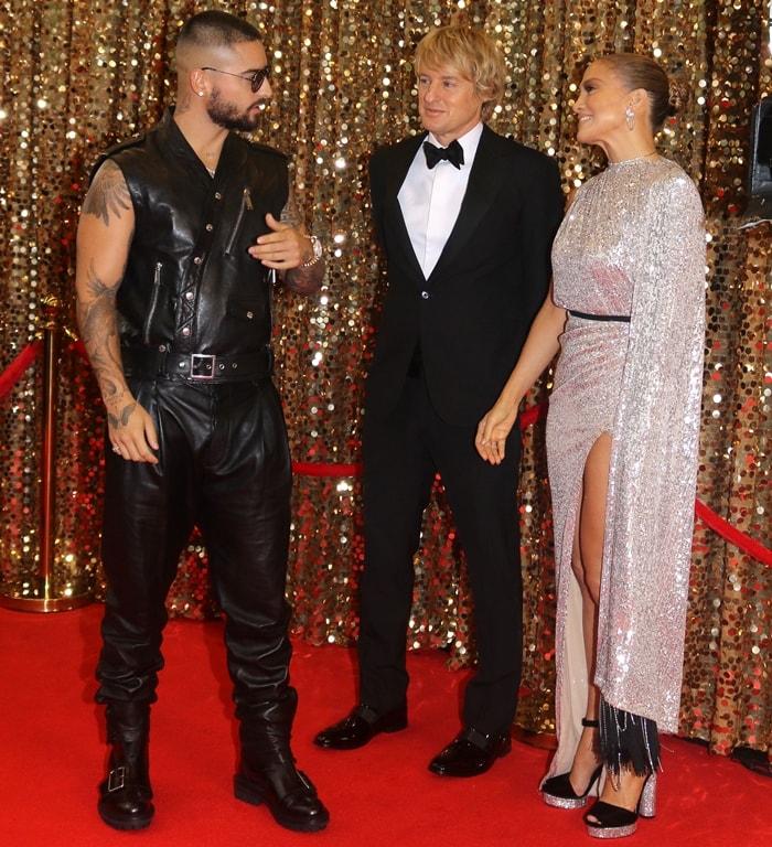 Maluma, Owen Wilson, Jennifer Lopez filming a red carpet scene on the set of Marry Me