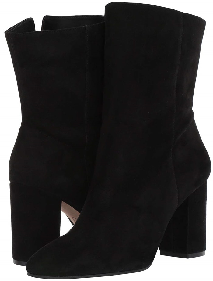 Your style pops in the Jessica Simpson Kaelin booties featuring a suede upper and block heel