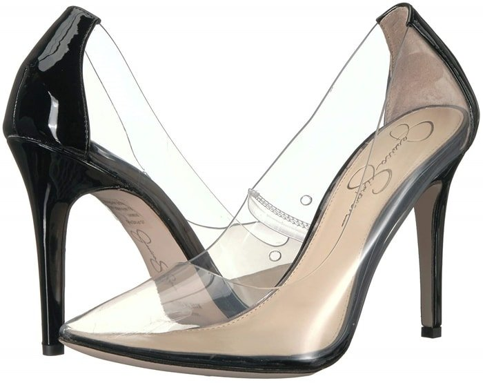 Make your fashion-setter status crystal clear in this transparent pointy-toe Pixera pump with slick patent trim and a sharp heel