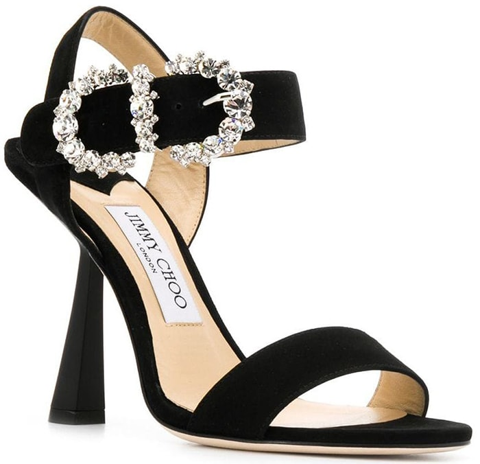 This glamorous special occasion sandal hosts a diamante detailed baroque buckle that takes center stage at the ankle
