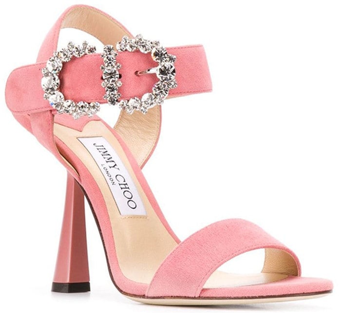 This glamorous special occasion sandal hosts a diamante detailed baroque buckle that takes centre stage at the ankle