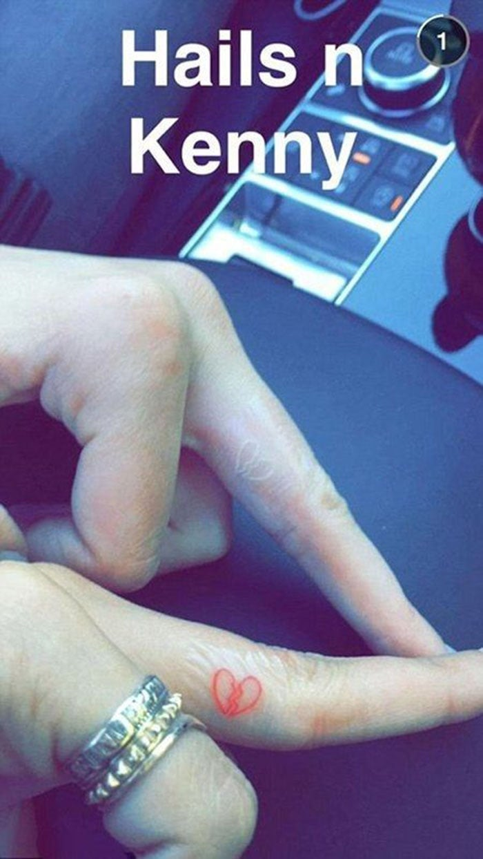 Kendall Jenner posted a snapchat of her matching tattoo with Hailey Baldwin