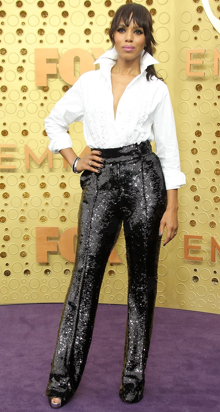 Kerry Washington styled her Xiletta crisscross peep-toe leather pumps with Alexandre Vauthier separates