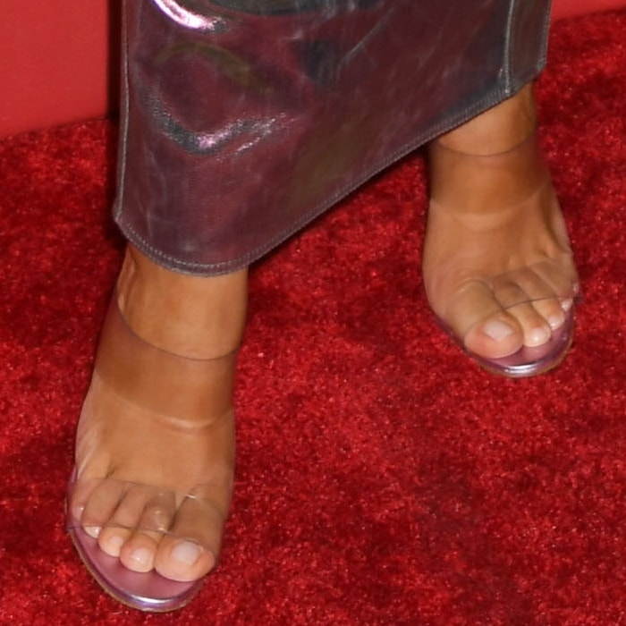 Kim Kardashian's sexy feet in Scolto transparent strap sandals from Manolo Blahnik