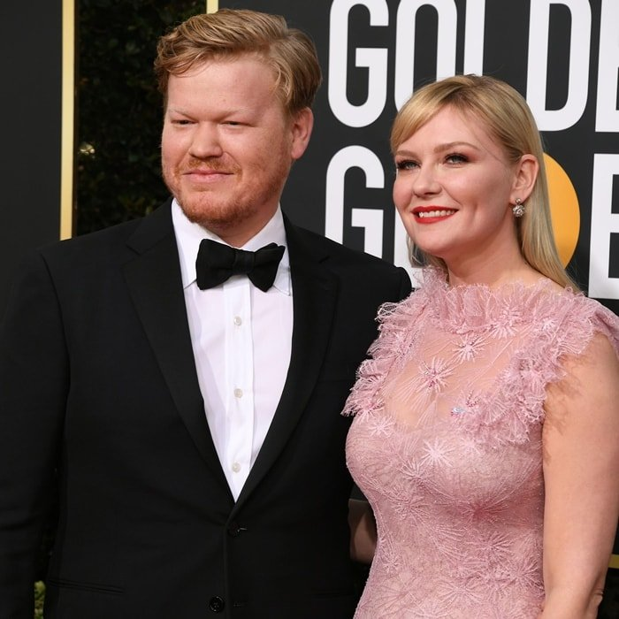 Jesse Plemons and Kirsten Dunst arrive at the 77th Annual Golden Globe Awards
