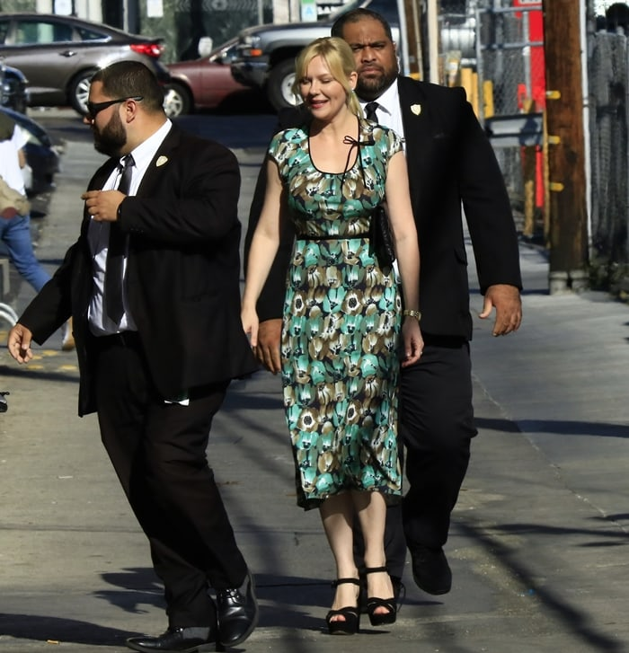Kirsten Dunst arrives to the Jimmy Kimmel studio for an appearance on Jimmy Kimmel Live! on September 5, 2019, Hollywood