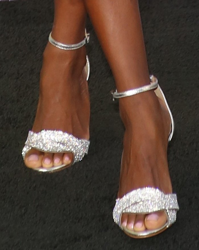 Krys Marshall shows off her sexy toes in sparkling Schutz heels
