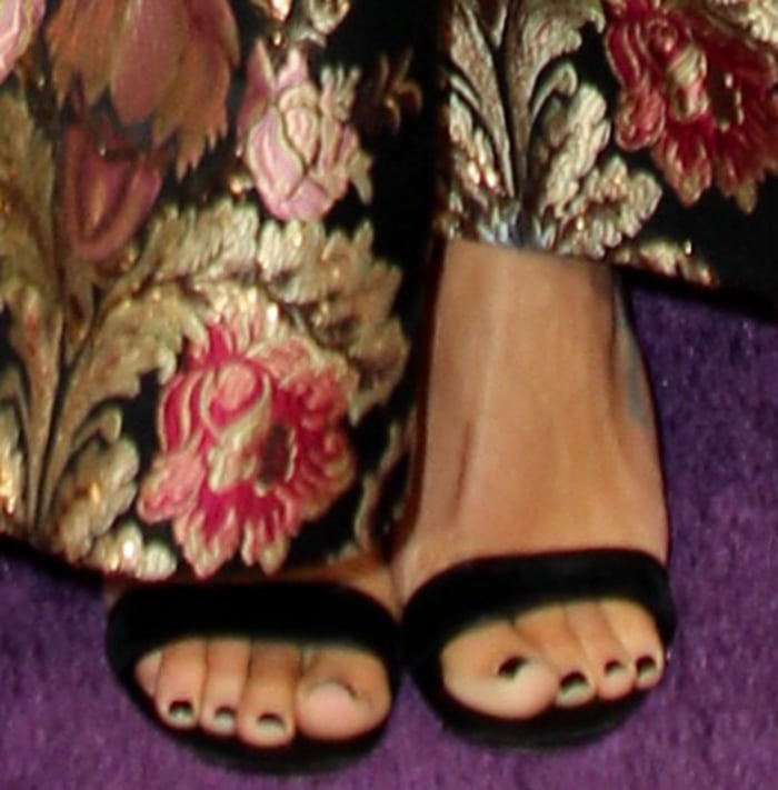 Lea Michele in a classic pair of black sandals by Casadei