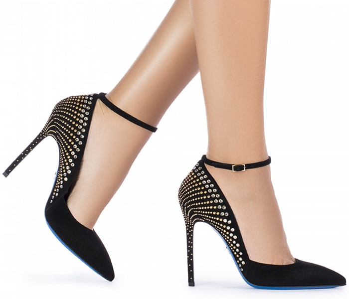 Loriblu Jewel Embellished-Heel Ankle-Strap Pumps