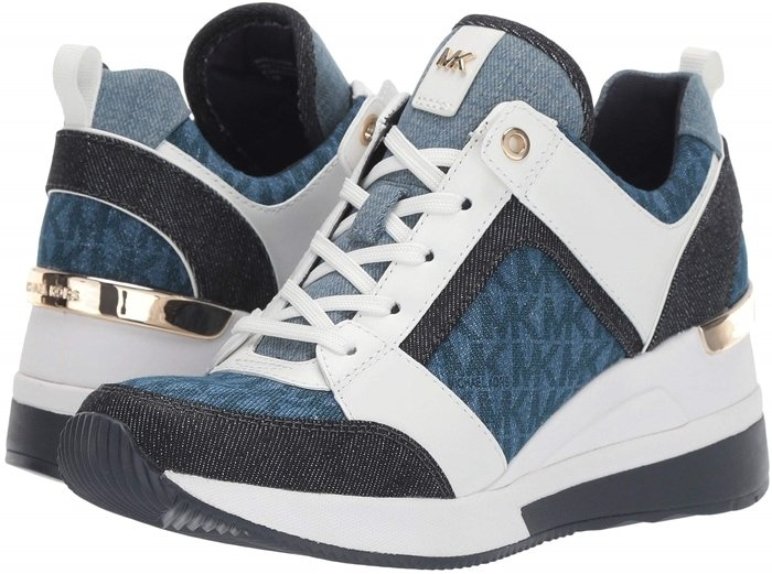 Mixed-media construction, metallic accents and a wedge heel add undeniable glamour to this sporty, street-chic sneaker