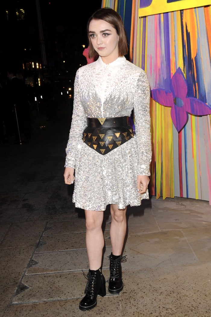 Maisie Williams in a Louis Vuitton Fall 2019 sequined lace shirt and skirt