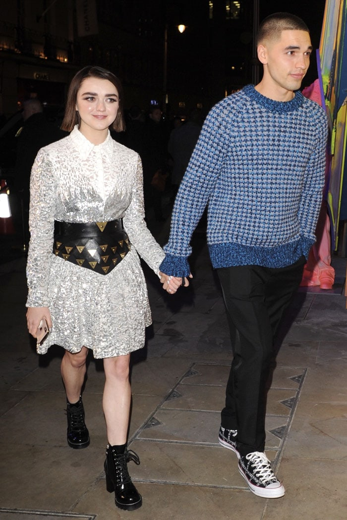 Maisie Williams holding hands with boyfriend Reuben Selby