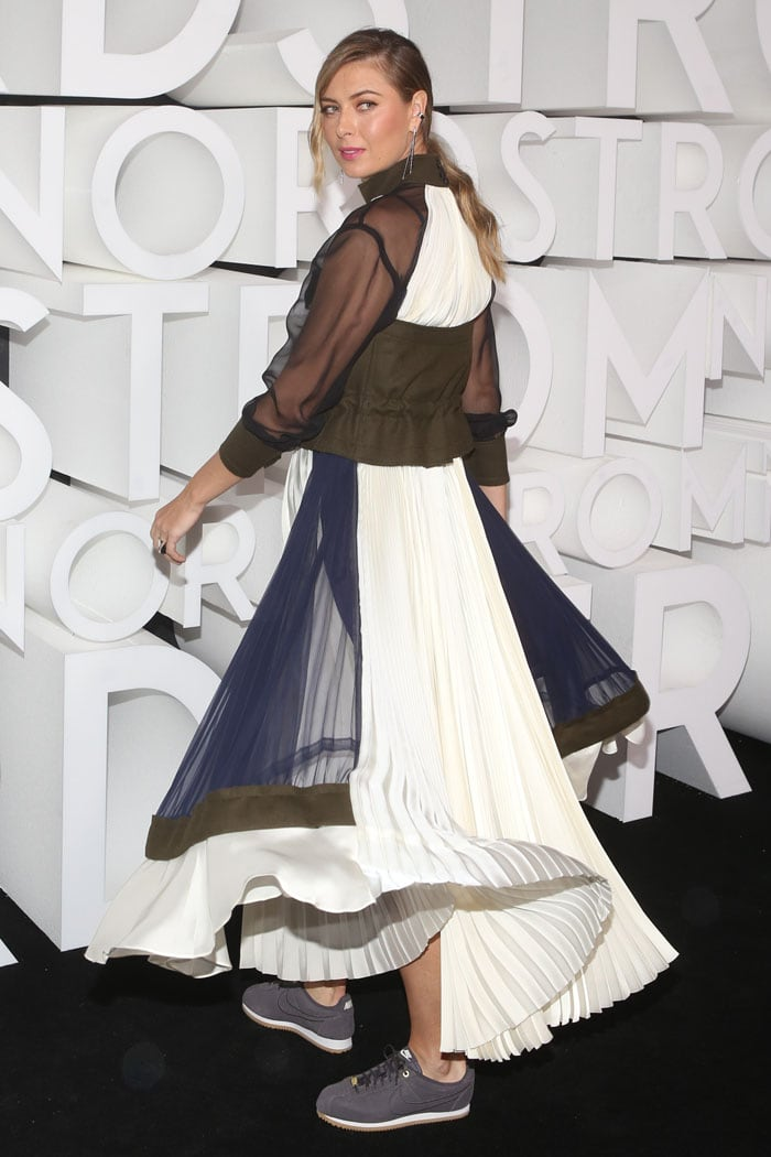 Maria Sharapova twirling in her Sacai organza and felt utility dress