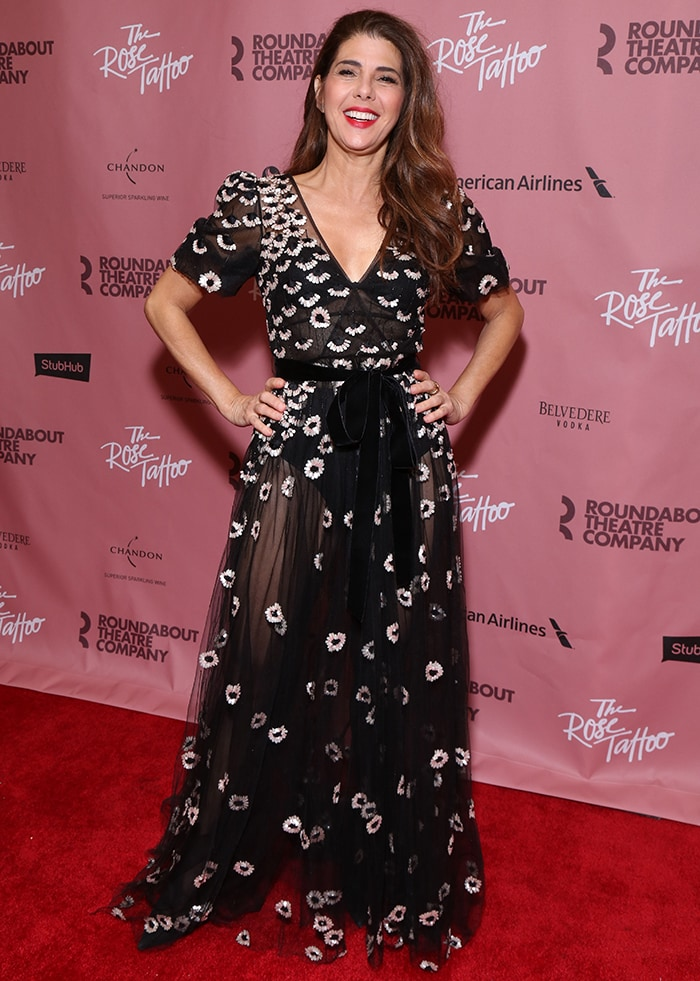 Marisa Tomei was all smiles at the Broadway opening night party for The Rose Tattoo held at The Hard Rock Café in New York City on October 15, 2019