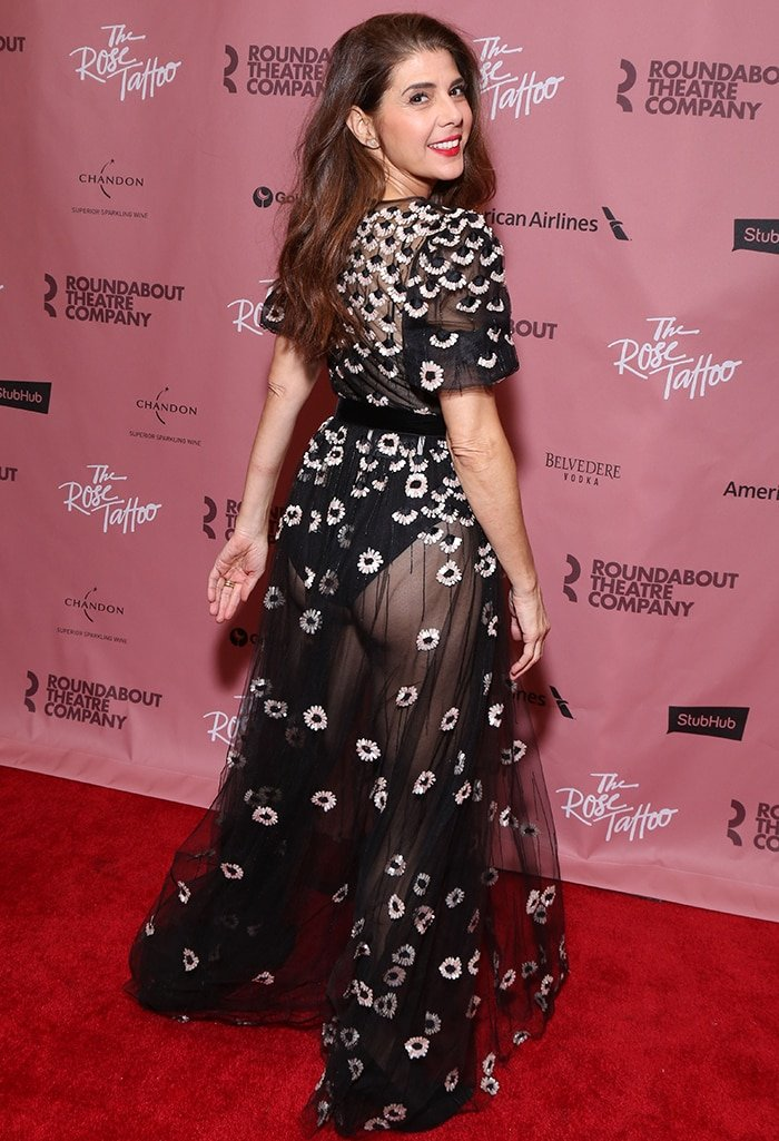 Marisa Tomei puts on a very cheeky display in a see-through Valentino dress