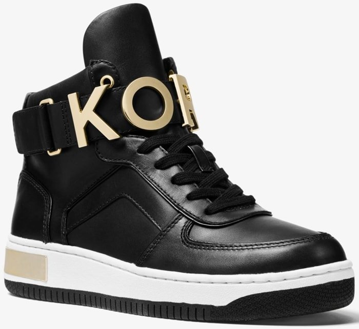 Crafted from smooth leather and embellished with KORS lettering, the Cortlandt high-top sneakers will lend a cool, street-style sensibility to an array of ensembles