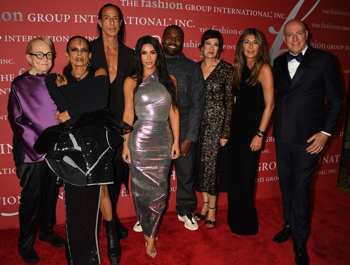 Marylou Luther, Michele Lamy, Rick Owens, Kim Kardashian West, Kanye West, Maryanne Grisz, Nina Garcia, and James D'Adamo attend the FGI 36th Annual Night of Stars Gala