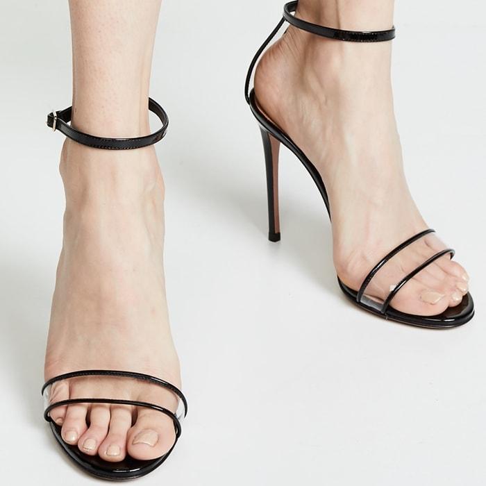 Black Patent Aquazzura Minimalist 115mm Sandals