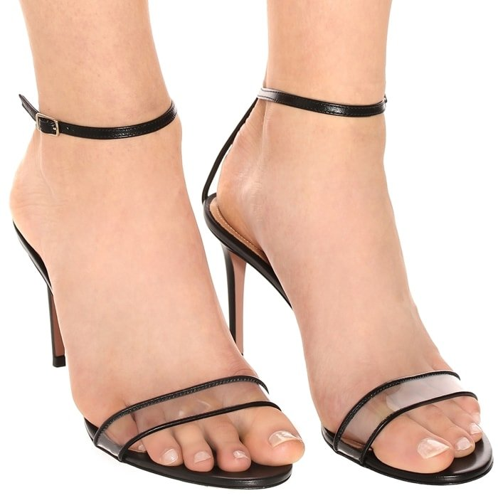 Add '90s-inspired edge to new-season looks with the black Minimalist sandals from Aquazzura