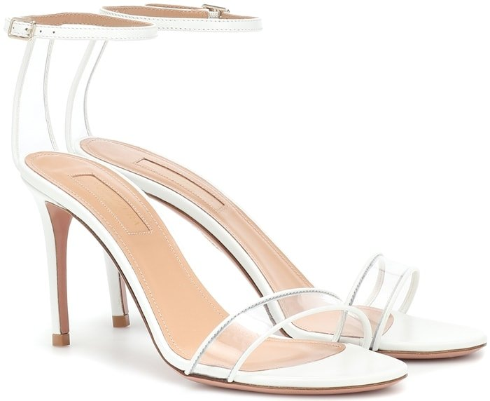 Add '90s-inspired edge to new-season looks with the optic white Minimalist sandals from Aquazzura