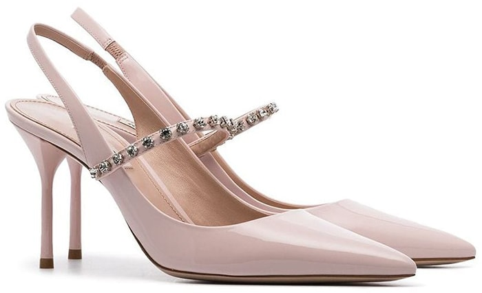 These slingback pumps have been made in Italy from blush patent-leather and have a secure strap dotted with sparkly crystals