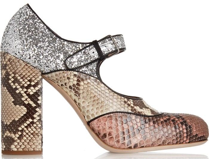 Miu Miu python and glitter Mary Jane pumps