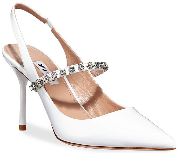 White MIU MIU Crystal-embellished patent-leather slingback pumps