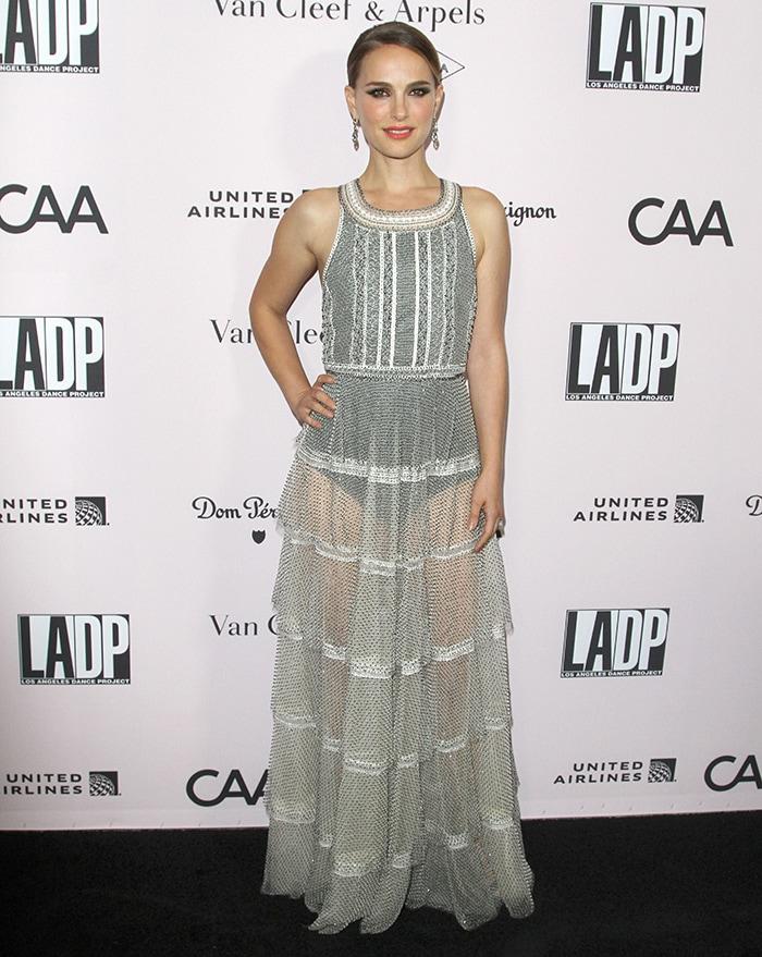 Natalie Portman shows a hint of flesh in custom Dior see-through dress