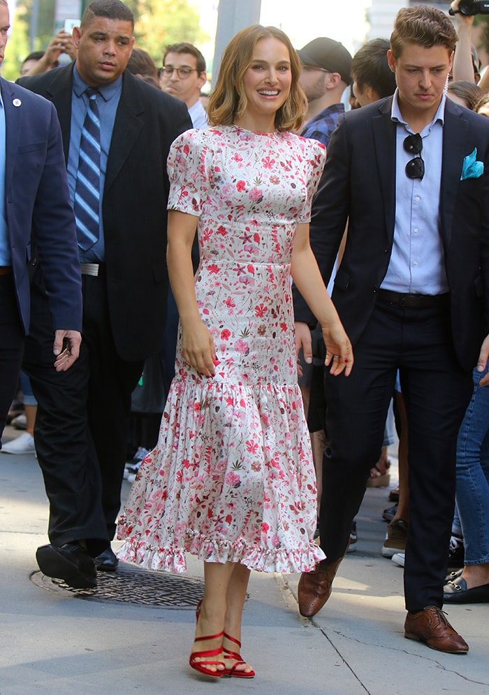 Natalie Portman wears a floral dress from Indie fashion label The Vampire's Wife