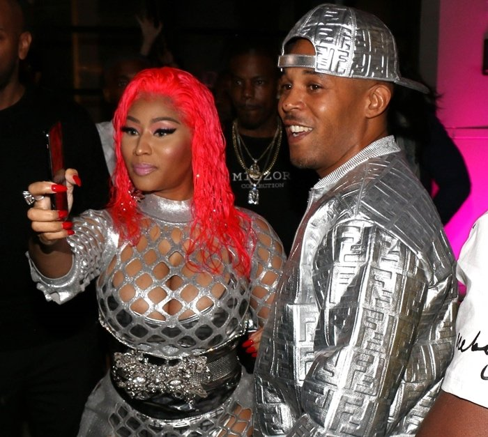 Nicki Minaj and Kenneth Petty arrive at her new Fendi Prints On x Nicki Minaj Collection Launch Celebration