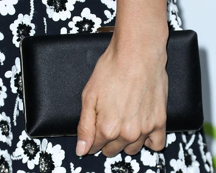 Nina Dobrev accessorized with Jimmy Choo 'Clemmie' clutch