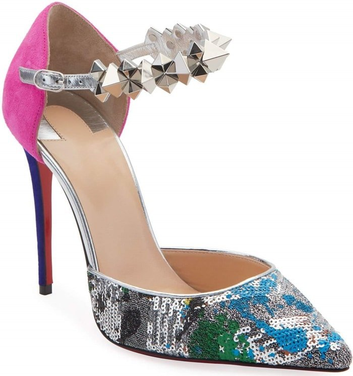 Christian Louboutin Planet Chic two-tone suede mules with colorblocked sequin embroidery