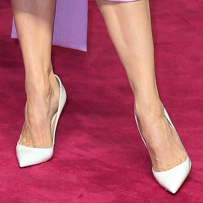 Renee Zellweger's feet in d Christian Louboutin 'So Kate' white-patent pumps