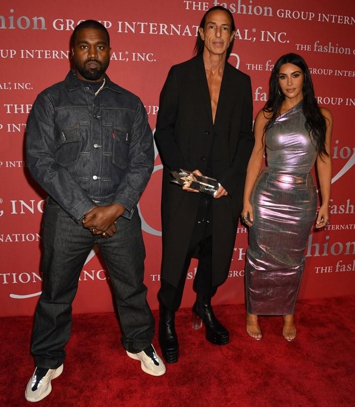 Kim Kardashian and Kanye West presented the Superstar award to avant-garde fashion designer Rick Owens