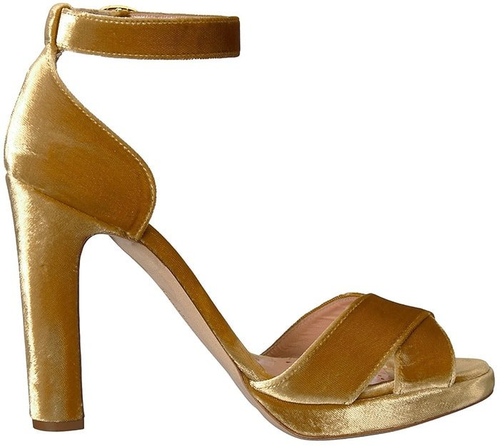 Brown leather and cotton Meadow sandals from Rupert Sanderson featuring crossover straps to the front, a branded insole, an ankle strap with a side buckle fastening and a chunky high heel