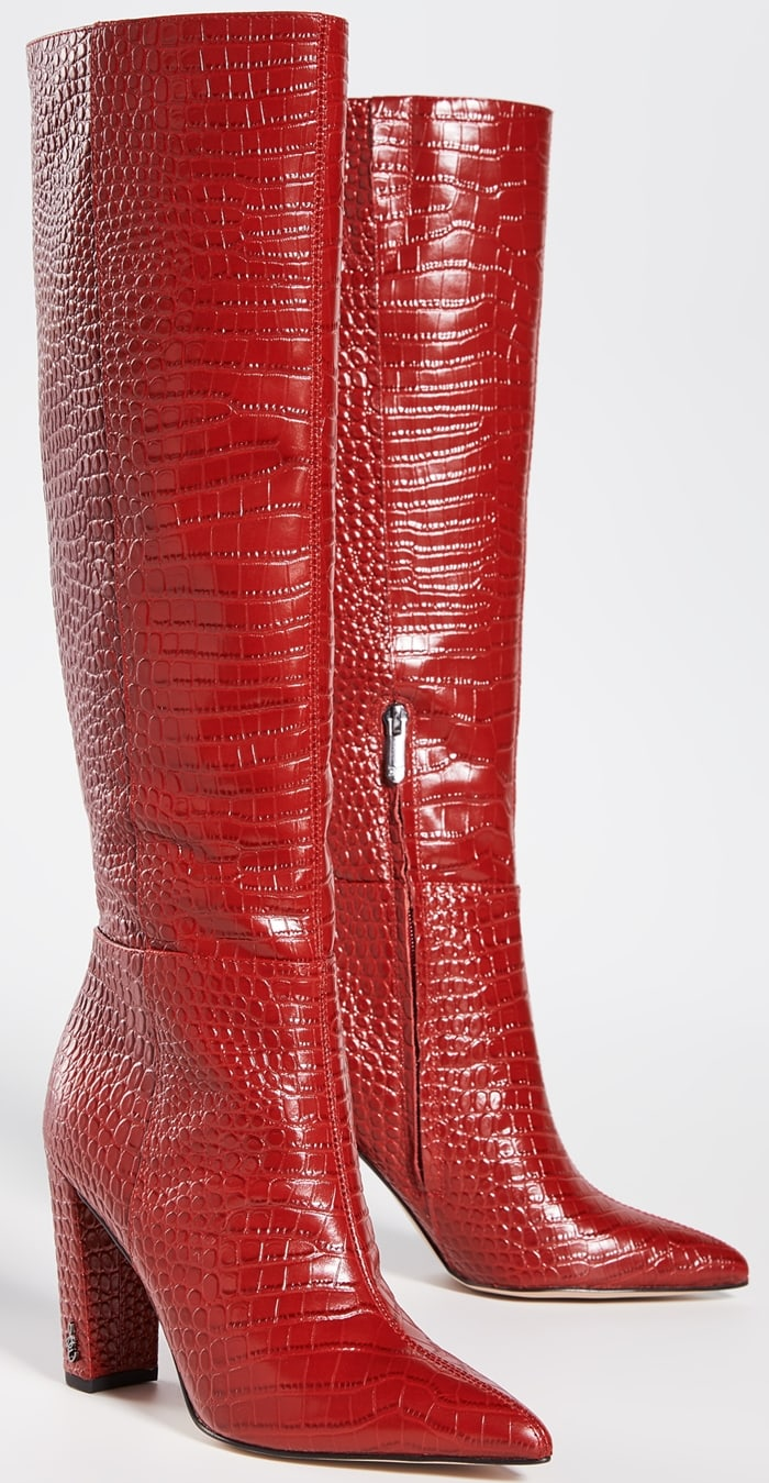 Turn heads while making a powerful style statement with the Raakel knee high boot with a pointed toe and block heel that make these knee-high boots ready to rock your walk across any room