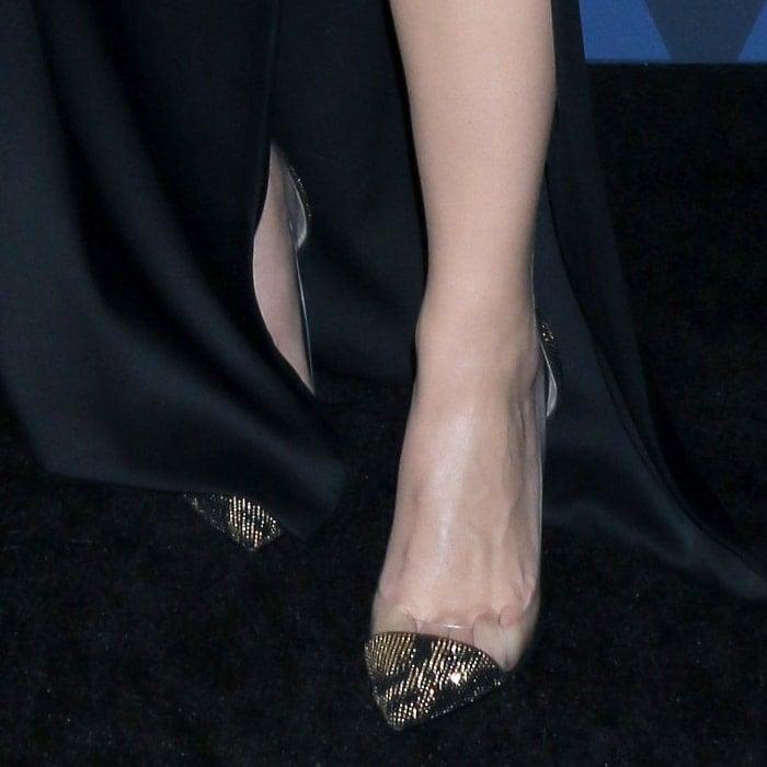 Scarlett Johansson's sweaty feet in Gianvito Rossi suede pumps