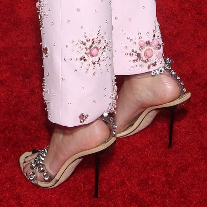 Scarlett Johansson's feet in Sergio Rossi jeweled clear-strap sandals