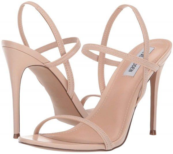 Gabriella slays sandal assortments with a towering stiletto heel and barely-there elastic straps