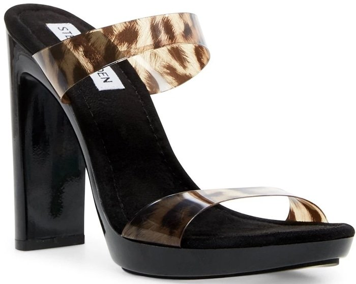 Take any look to the next level with this Steve Madden Glassy heeled sandal with barely there clear straps