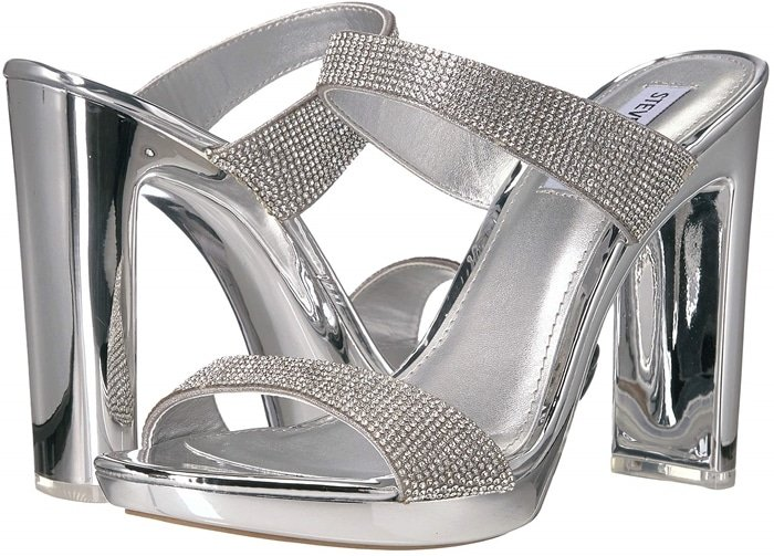 Glassy Platform Sandals Secured With Two Clear Bands