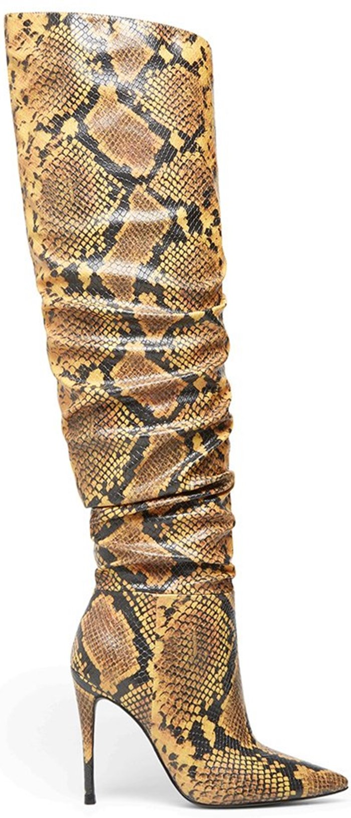 Yellow Snake Print Harlow Reptile Embossed Over the Knee Boots