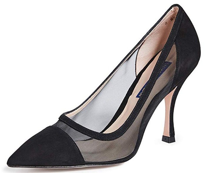 Sheer mesh panels and a curved heel add a modern aesthetic to a classic pointy-toe pump