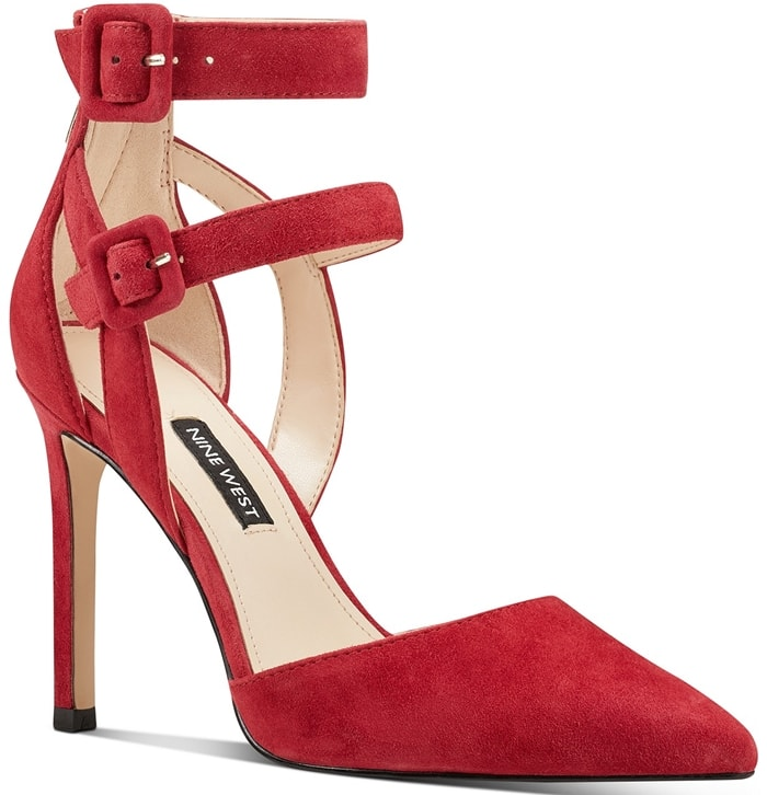 The classic stiletto pump gets a downtown makeover in Nine West's caged-heel version with a double buckle strap