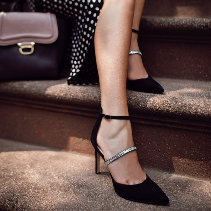 Sparkling stones embellish the instep straps of Nine West's Thalita pumps that are finely finished with delicate ankle-straps