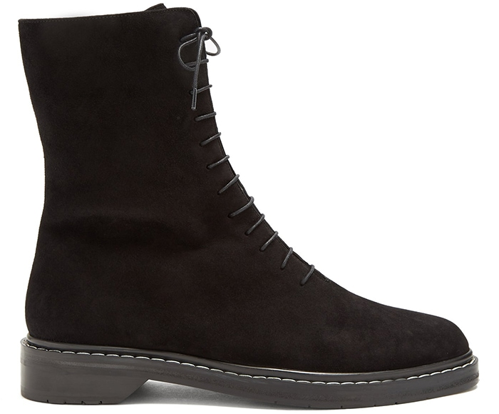 These signature Fara boots have been made in Italy from smooth leather with welted soles and white stitching for a graphic contrast