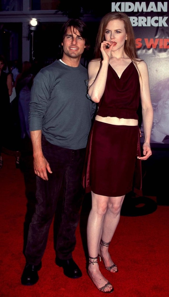 Tom Cruise and Nicole Kidman at the premiere of their erotic mystery psychological drama film Eyes Wide Shut in 1999