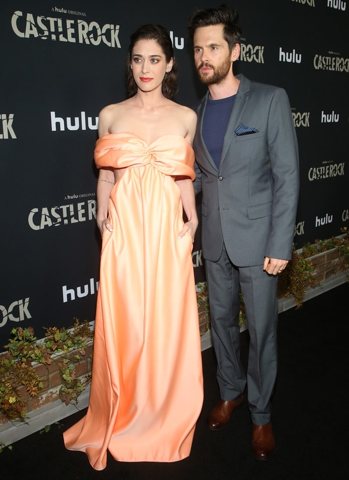 Tom Riley supports his wife Lizzy Caplan while attending the season two premiere of her Hulu series Castle Rock