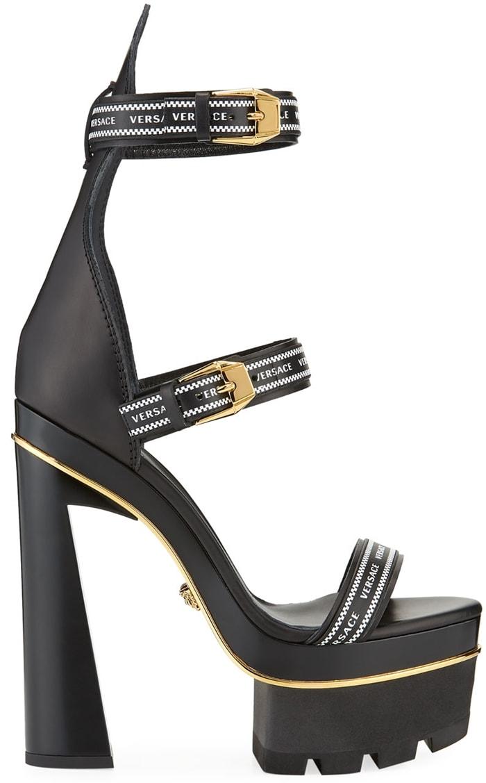 Versace Triple Strap Platform High-Heel Sandals