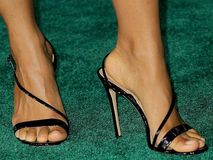 Zazie Beetz's feet in Gianvito Rossi Manhattan sandals